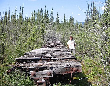 Gillian by railcars at Coal Creek Yukon