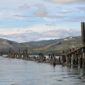 Yukon River, Marsh Lake to Carmacks - Guide Book - printed book Pilings on Lake Laberge