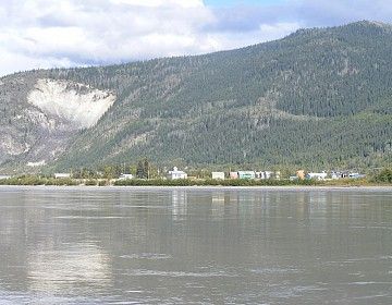 Dawson City with Moosehide Slide in background